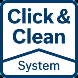 Click&Clean系統 - 3個好處 清晰地檢視工作表面:令您的工作更快更準 立即吸走有害粉塵:保護您的健康 更少的粉塵:使用壽命的工具和配件