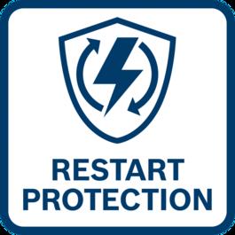 重新開機保護 可避免工具在電力中斷之後自動開機。