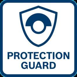 卓越的使用者保護功能 具備防旋轉保護罩 - 即使磨/切片斷裂也能保護使用者的安全