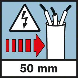 電線的測量深度 帶電電線的測量深度,最大50 mm